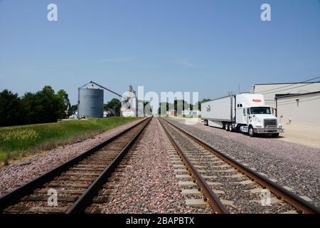 Ashton USA - 23 June 2013 - Railroad in Ashton Illinois - Stock Photo