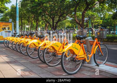 Taipei, Taiwan - March 26, 2020: Taipei Bike Sharing System, YouBike, is a public bicycle sharing service offered by the Taipei City launched in 2009.