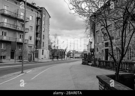 Kranj, Slovenia, March 22, 2020: The empty city center of Kranj, Slovenia, during the coronavirus outbreak nationwide lockdown. - Stock Photo