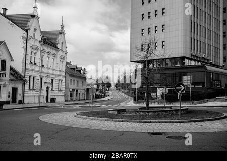 Kranj, Slovenia, March 22, 2020: The empty roads and sidewalks in the town of Kranj, Slovenia, during the coronavirus outbreak nationwide lockdown. - Stock Photo