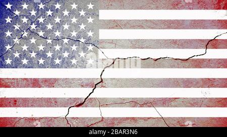 Contours of the US national flag on a cracked wall after hostilities