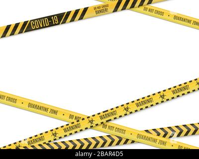The intersecting yellow in a black strip warning fencing tape on white background. Biological hazard. - Stock Photo