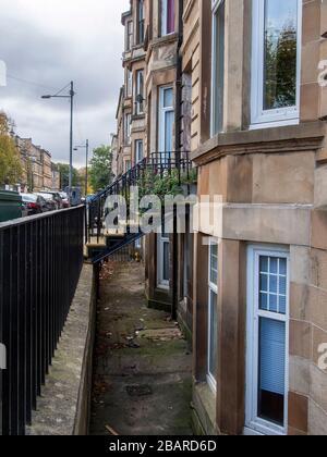 Glasgow, Scotland, UK. 29th October 2019: Outside steps in Govanhill, Glasgow. - Stock Photo
