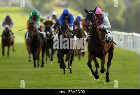 Panzanella ridden by jockey William Buick wins the Dormouse Maiden Stakes at Leicester Racecourse - Stock Photo