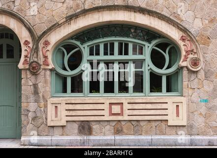 Art nouveau window in the old town of Bilbao, Spain - Stock Photo
