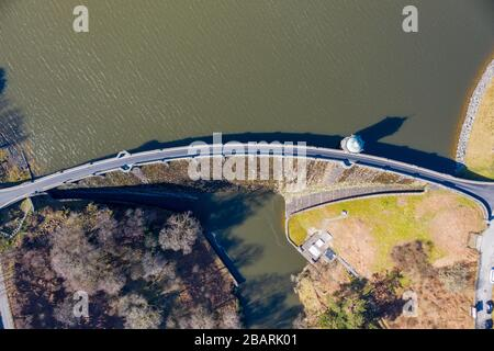 Aerial view above Craig goch elan valley on a bright sunny day in march 2020 winter - Stock Photo