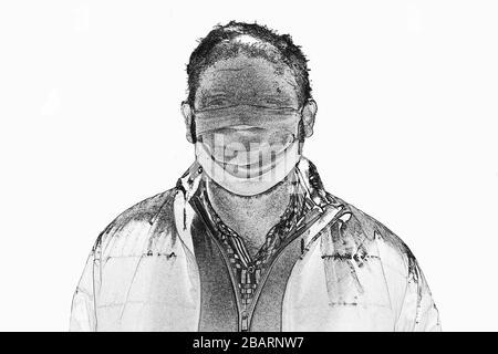 Ilustration of elderly man in protective medical mask isolate in white. Coronavirus elderly advice concept. Safety old men. Transmission of virus thro