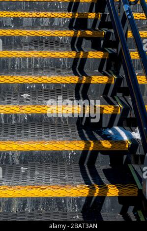 Black and yellow rubber steps - Stock Photo