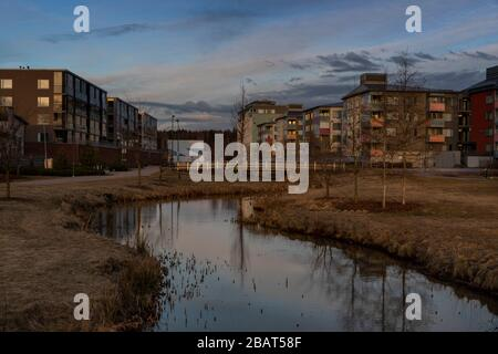 Urban sunset in Finnish spring with no people - Stock Photo