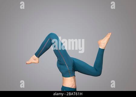 gymnast doing handstand with legs split stock photo  alamy