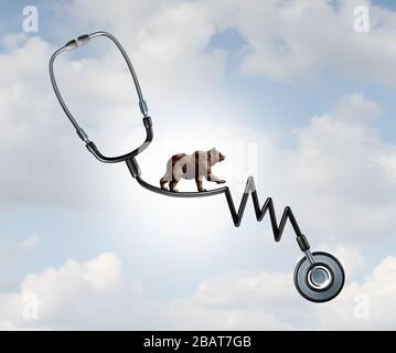 Health and Bear market risk as a financial loss concept as a symbol for disease and economic recession walking on a high tightrope shaped. - Stock Photo