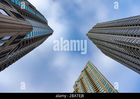 Upward View of Residential Skyscrapers in River North Chicago