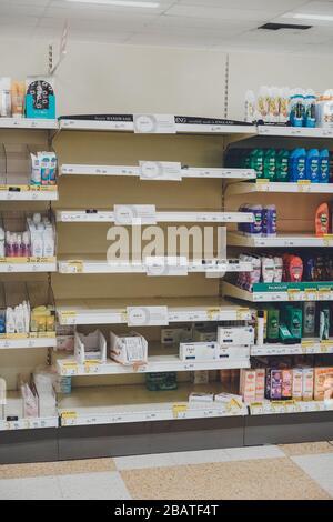 Empty supermarket shelves due to consumers panic buying during Coronavirus Outbreak UK
