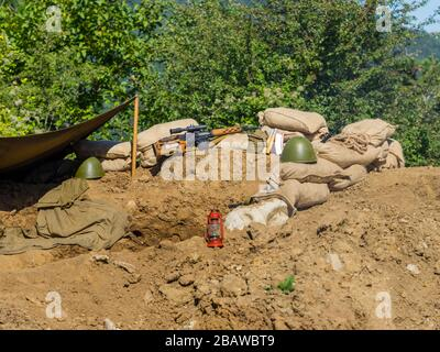 Reviving history of Slovenia Pivka museum of military history representing Russian Army in Afganistan - Stock Photo