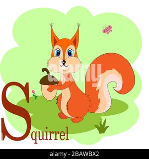 S for squirrel abc animal alphabet