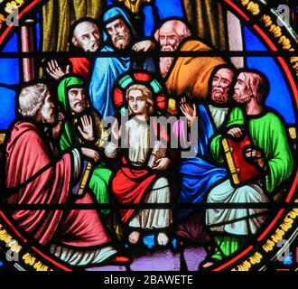Saint-Adresse, France - August 15, 2019: Stained Glass in the Chapel of Notre-Dame-des-flots (1857) in Sainte Adresse, Le Havre, France, depicting Chr - Stock Photo