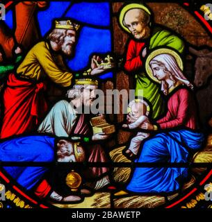 Saint-Adresse, France - August 15, 2019: Stained Glass in the Chapel of Notre-Dame-des-flots (1857) in Sainte Adresse, Le Havre, France, depicting the - Stock Photo
