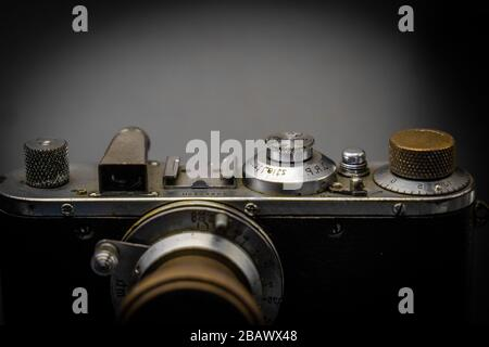 Close up of vintage camera. old retro technology.