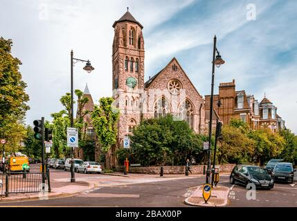 London / UK - September 16 2018: View of Saint Joseph's Roman Catholic Church, in Cromwell Ave, Highgate Hill, Highgate. - Stock Photo