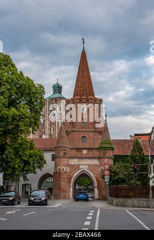 The Medieval Kreuztor Gate in Ingolstadt, Germany - Stock Photo
