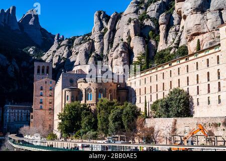 Mountain and basilica of Montserrat, Barcelona, Catalonia, Spain.