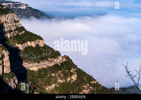 Mountain and basilica of Montserrat, Aerial view of central Catalonia, Manresa area, Barcelona, Catalonia, Spain.