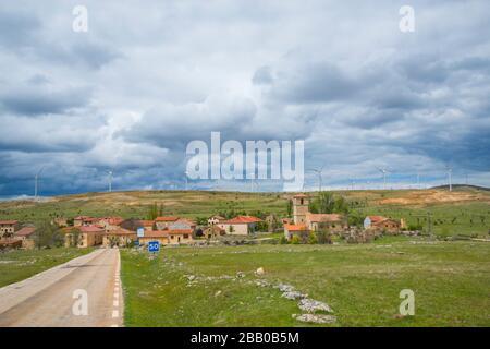Road and overview of the village. Villacadima, Guadalajara province, Castilla La Mancha, Spain. - Stock Photo