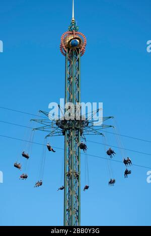 The Star Flyer ride at the Tivoli Gardens amusement park in Copenhagen, Denmark - Stock Photo