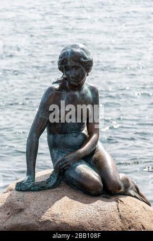 The Little Mermaid statue in Copenhagen, Denmark, Europe