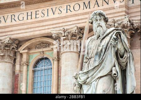 Statue of St. Paul standing in front of St. Peter's Basilica, St. Peter's Square, Vatican City, Rome