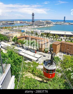 Panoramic of Barcelona from Miramar with red cable car, Catalunya, Spain, Europe. - Stock Photo