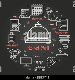 Vector black hotel service square concept - Hotel Bell icon - Stock Photo