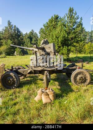 Reviving history of Slovenia Pivka museum of military history American Army Bofors AA gun - Stock Photo