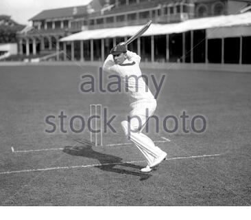 File photo dated 01-01-1925 of A posed picture of Surrey batsman Jack Hobbs batting. - Stock Photo