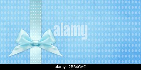 happy easter gift card with blue ribbon bow Isolated on blue texture background with copy space