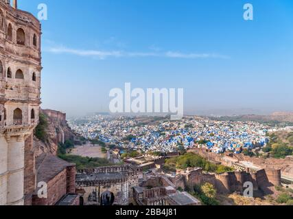 View from Mehrangarh Fort over the 'blue city' of Jodhpur, Rajasthan, India - Stock Photo