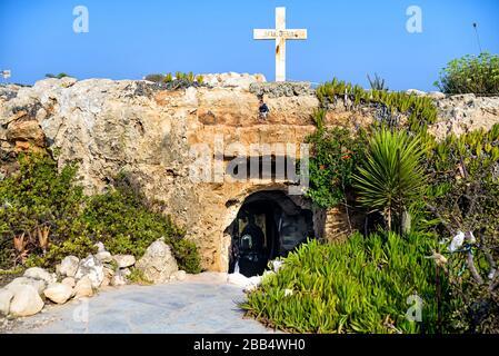 Agia Thekla's cave in Agia Napa, Cyprus - Stock Photo