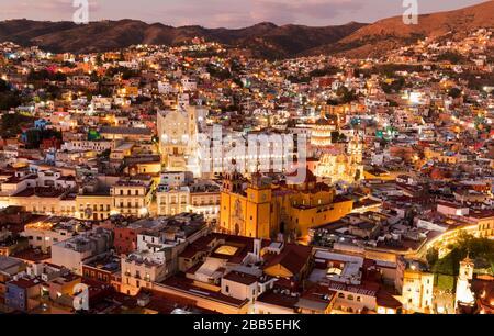 Mexico, Guanajuato skyline as viewed from Monumento a El Pïpila. Guanajuato, a UNESCO world heritage site
