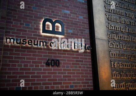 Washington, USA. 30th Mar, 2020. The Museum of the Bible, which remains temporarily closed, as seen in Washington, DC, on Monday, March 30, 2020, amid the coronavirus pandemic. Over the weekend President Trump announced the Centers for Disease Control and Prevention (CDC) guidelines for social distancing would be extended through April 30 to further try reduce the spread of COVID-19. (Graeme Sloan/Sipa USA) Credit: Sipa USA/Alamy Live News - Stock Photo