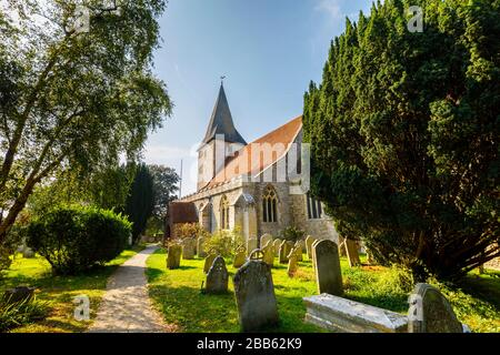 Holy Trinity Church, a Grade 1 listed historic building in Bosham, a small village in Chichester Harbour, West Sussex, on the south coast of England