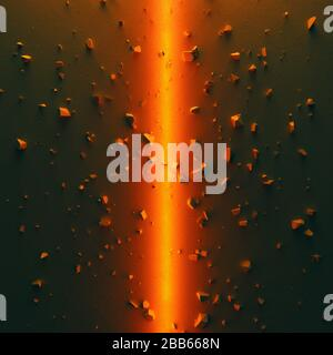 Epic cinematic background. Concrete ground divided into two parts by bright orange light. Debris scattered around. 3D illustration