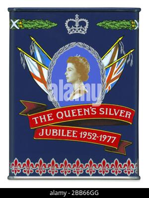 A side view of a commemorative tea caddy or tin produced in 1977 to celebrate the Silver Jubilee of Queen Elizabeth II. - Stock Photo