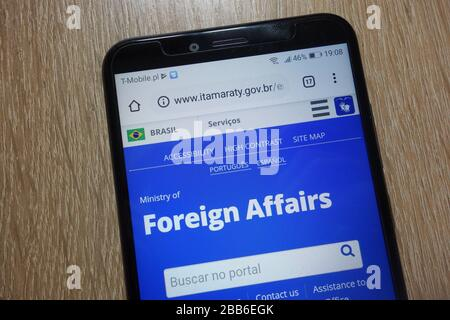 Homepage of Brazilian Ministry of Foreign Affairs (www.itamaraty.gov.br) displayed on smartphone - Stock Photo