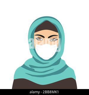 Hijab muslim woman wearing medical mask vector Stock Photo