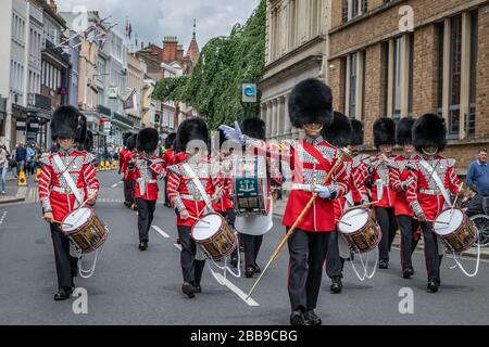 Corp of Drums of the Welsh Guards, Windsor, Berkshire, UK - May 28th 2019 - Stock Photo