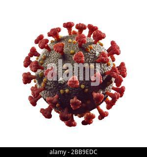Coronavirus, COVID-19, SARS-CoV-2 Corona virus particle 3D illustration in color isolated on white background. - Stock Photo