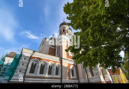 The facade of Alexander Nevsky Cathedral on Toompea Hill in the medieval city of Tallinn Estonia.