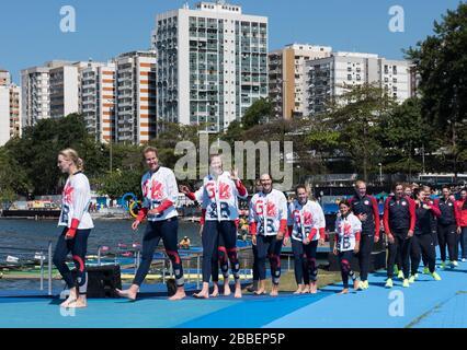 "Rio de Janeiro. BRAZIL   Women's Eights Final. Silver Medalist GBR W8+. Bow. Katie GREVES, Melanie  WILSON, Frances HOUGHTON, Polly  SWANN,  Jessica EDDIE,  Olivia CARNEGIE-BROWN, Karen BENNETT, Zoe LEE and  Zoe DE TOLEDO, 2016 Olympic Rowing Regatta. Lagoa Stadium, Copacabana,  ""Olympic Summer Games"" Rodrigo de Freitas Lagoon, Lagoa. Local Time 11:40:27  Saturday  13/08/2016 [Mandatory Credit; Peter SPURRIER/Intersport Images] - Stock Photo"