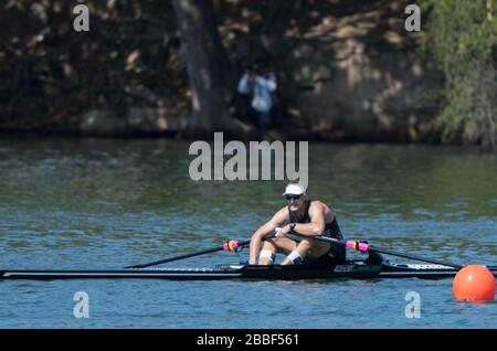 "Rio de Janeiro. BRAZIL   NZL M1X. Mahe DRYSDALE.     2016 Olympic Rowing Regatta. Lagoa Stadium, Copacabana,  ""Olympic Summer Games"" Rodrigo de Freitas Lagoon, Lagoa. Local Time 10:38:49  Saturday  13/08/2016 [Mandatory Credit; Peter SPURRIER/Intersport Images] - Stock Photo"
