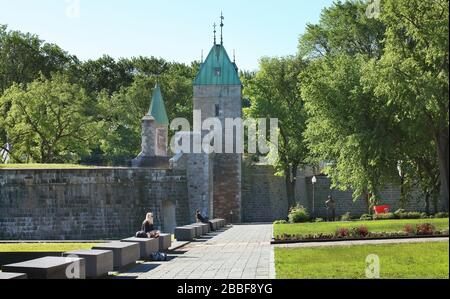 Esplanade outside the Quebec City Fortifications near Porte Saint-Louis (St. Louis Gate), Quebec City, Province of Quebec, Canada - Stock Photo